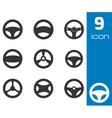 black Steering wheels icons set vector image