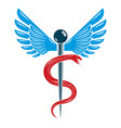 caduceus symbol made using bird wings and vector image