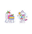 cakes and sweets desserts logo design set bakery vector image vector image
