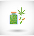 cannabis pills flat icon vector image