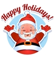 Card with Santa Claus in a circle Happy Holidays vector image