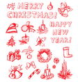 christmas freehand design elements vector image