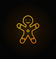 christmas gingerbread man cookie yellow line icon vector image vector image