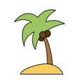 color image island tropical palm trees with vector image