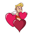 cupid with hearts vector image vector image