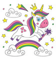 cute magical unicorn on white background vector image vector image