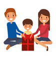 family parents and son with big gift box vector image