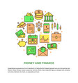 finance and money round concept in line style vector image vector image