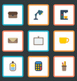 flat icons whiteboard desk light letter and vector image vector image