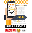 flat taxi order service poster vector image vector image