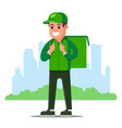 food delivery man in green uniform on a city vector image vector image