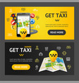 get taxi service banner horizontal set vector image