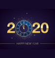 golden clock dial with numbers 2020 on magic vector image