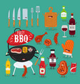 grill grilled meat wine sauces vector image