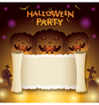 Halloween Pumpkins with Scroll Paper vector image vector image
