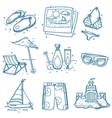 Hand drawn doodle sketch travel icons summer