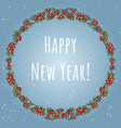happy new year boho lettering in a wreath of red vector image vector image