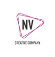 initial letter nv triangle design logo concept vector image vector image