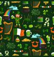 irish religious holiday patricks seamless pattern vector image