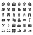 male clothes and accessories solid icon set 3 vector image vector image
