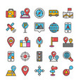 maps and navigation colored icons set 4 vector image vector image