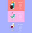 night bar big space all drinks banner cocktails vector image vector image