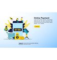 online shopping concept with icon and character vector image vector image