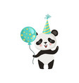 panda holding glossy balloon and waving by paw vector image vector image