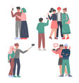 people taking selfie and posing for photographer vector image vector image