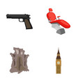 pistol toothpin and other web icon in cartoon vector image vector image