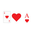 playing card ace hearts for printing vector image vector image