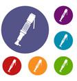 pneumatic screwdriver icons set