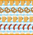 pretzels beer sausage seamless pattern tile vector image vector image