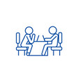 psychologist and patient line icon concept vector image vector image