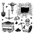set mining elements vector image