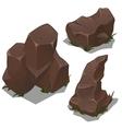 Set of dark brown rocks on a white background vector image