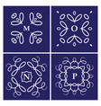 set of four monogram white on a blue background vector image