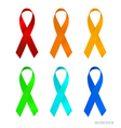 Set of ribbons and bows on a white background vector image vector image