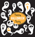 Set Of Vintage Happy Halloween flat ghosts vector image