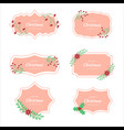 striped christmas frame set labels tags vector image