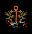 tattoo studio logo design retro styled emblem vector image vector image