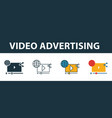 video advertising icon set four elements in vector image vector image