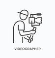 video blogger flat line icon outline vector image