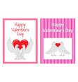 White doves couples with heart set