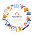 wild west - flat design style banner vector image