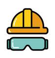yellow helmet glasses icon vector image