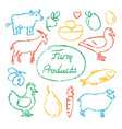 set of farm food icons in sketch style vector image