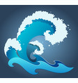a blue wave with foam drops and splashes vector image