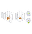 animals in cages isometric dog bird inside and vector image