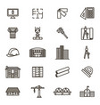 architecture signs black thin line icon set vector image vector image